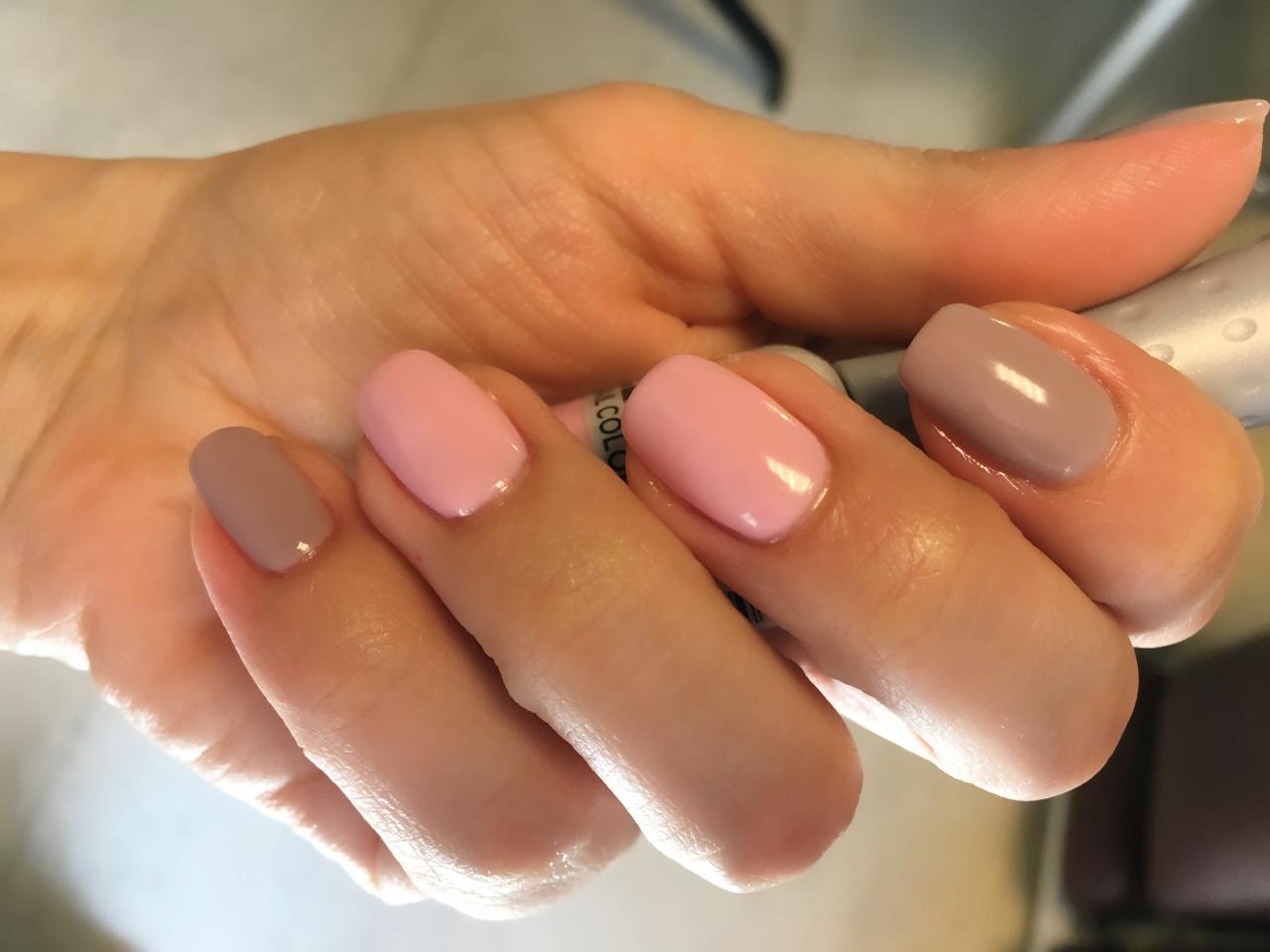 Pink and grey gel polish